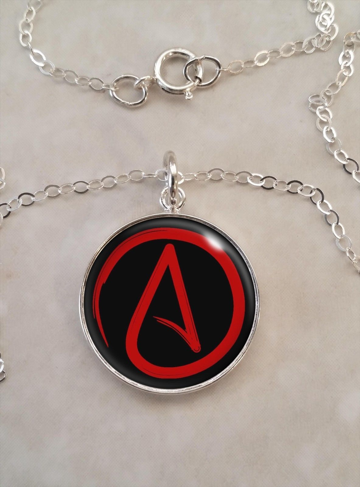 Sterling Silver 925 Pendant Necklace Atheist Symbol Choose Your