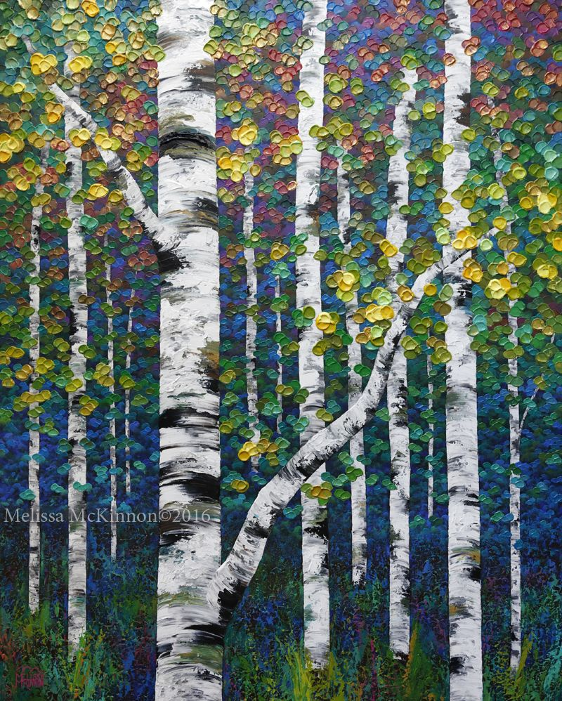NEW PAINTING – Colourful Spring Birch and Aspen Tree Art by Calgary ...