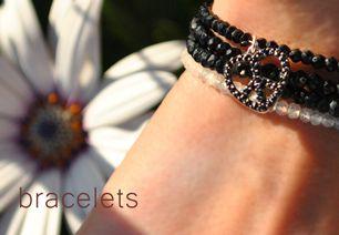 Black Spinel and Moonstone Bracelet Layering  http://www.issyray.com/62-bracelets