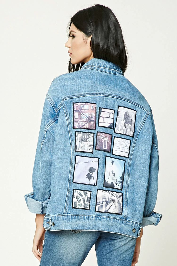 6ef34c32 An oversized denim jacket featuring back landscape and cityscape patches, a  basic collar, buttoned placket, long button-cuff sleeves, front button flap  ...