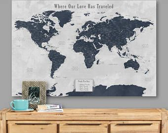World map pin board travel map poster push pin world map wall art world map pin board travel map poster push pin world map wall art canvas vintage push gumiabroncs Choice Image