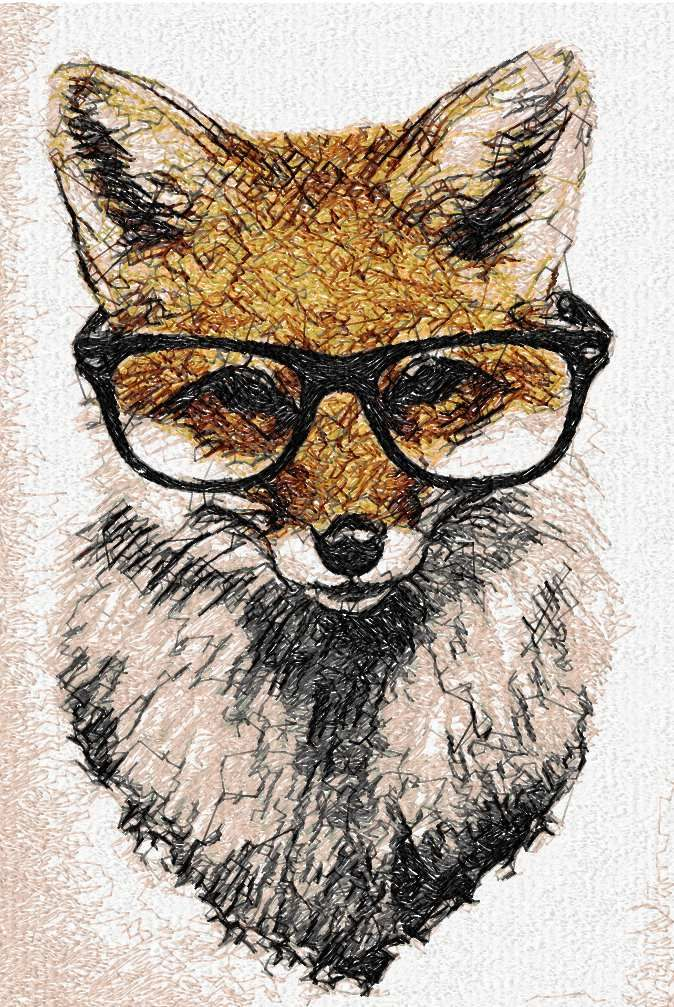Fox With Glasses Photo Stitch Free Embroidery Design Photo Stitch