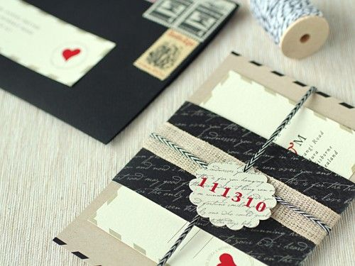 Love-letter inspired wedding invitations by Kate from Ruby & Willow