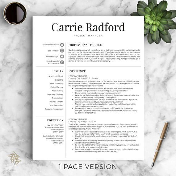 Professional Resume Template for Word  Pages Professional CV - resume 1 or 2 pages