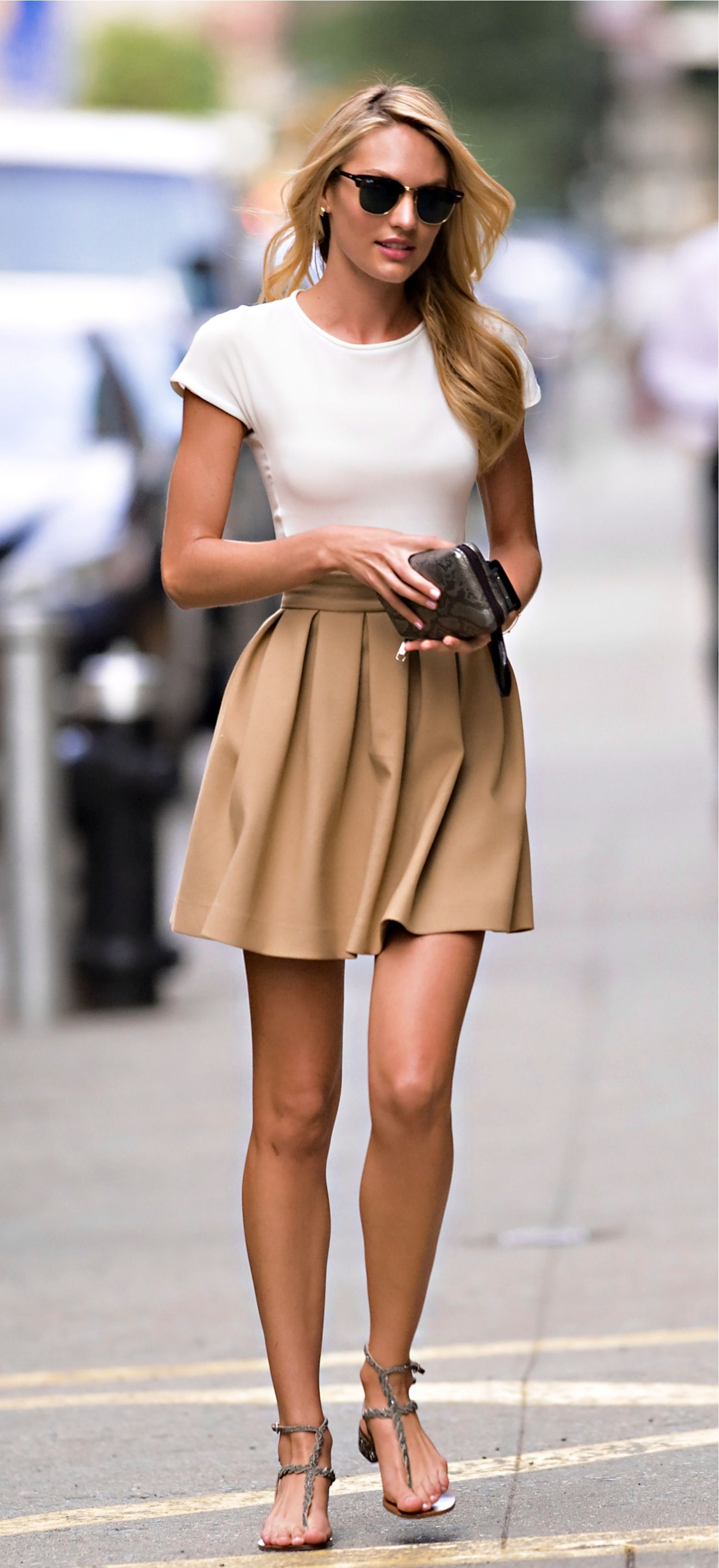 Candice Swanepoel Style Ray Ban Classic Camel Skirt I
