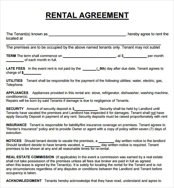 Printable Sample Rental Agreement Form Real Estate Forms Word