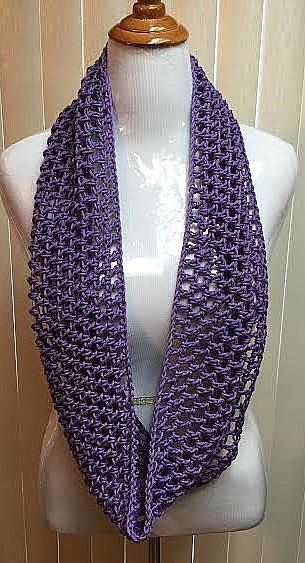Crochet Scarf, Summer Scarf, Infinity Scarf, Purple Scarf, Cotton ...