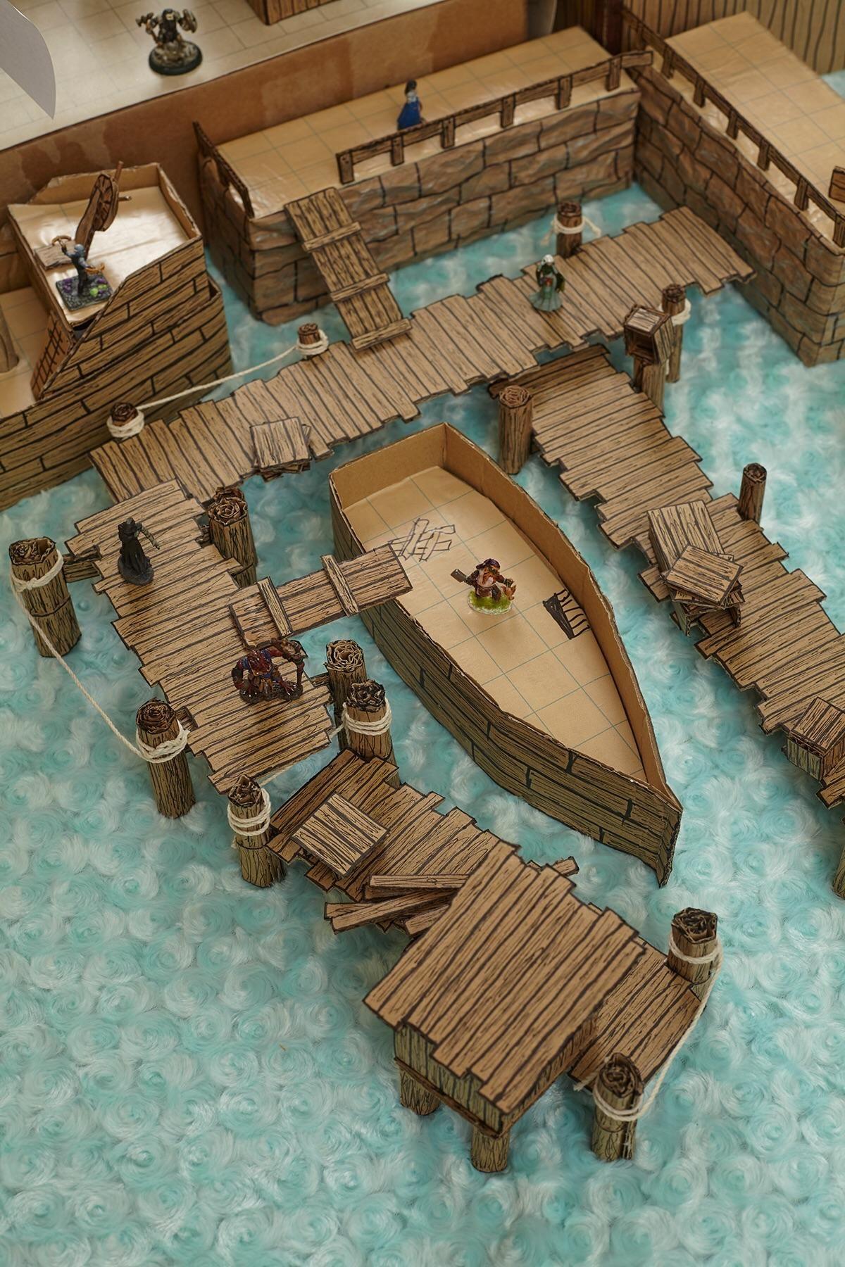[ART] Cardboard docks battlemap terrain : DnD #wargamingterrain