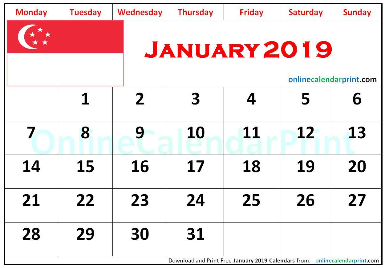 January 2019 Calendar Singapore With Images 2019 Calendar