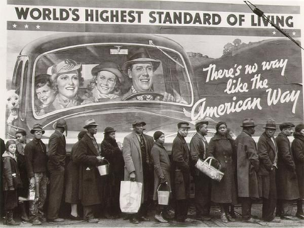 Great Depression irony as people wait in breadline in Ohio, 1937