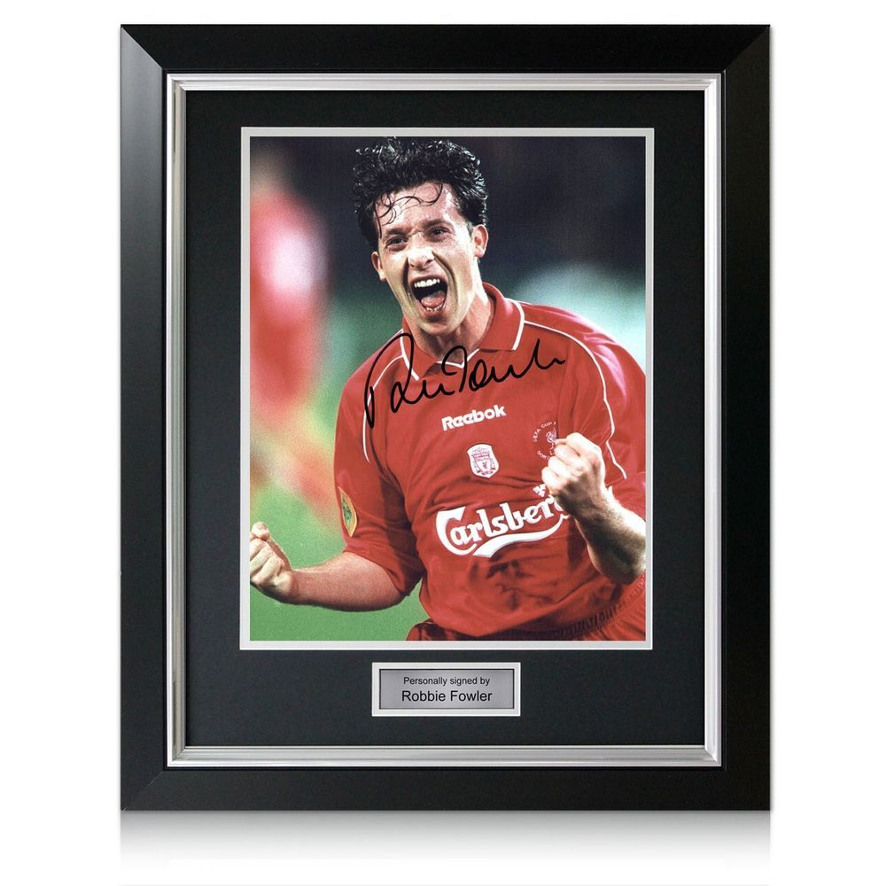 Framed Robbie Fowler Signed Photo Liverpool UEFA Cup