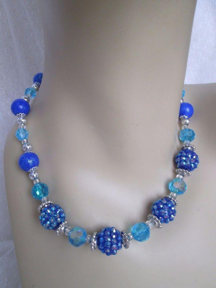 Blue AB Aurora Borealis Beaded Necklace Handmade Glass Sparkly ...