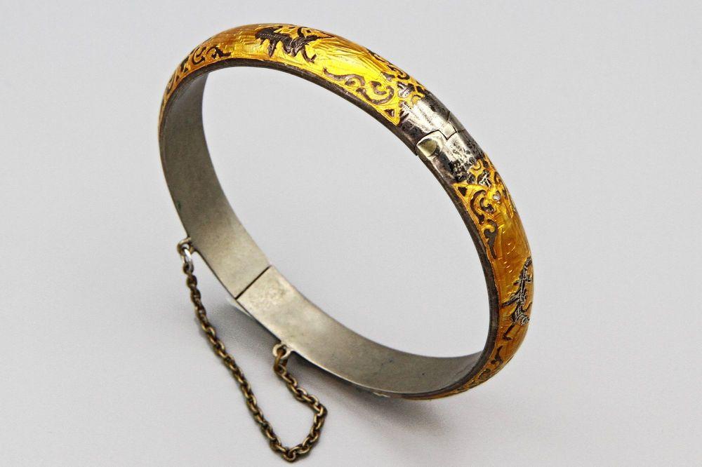 Antique 1940 siam thailand mekkala bracelet hinged bangle