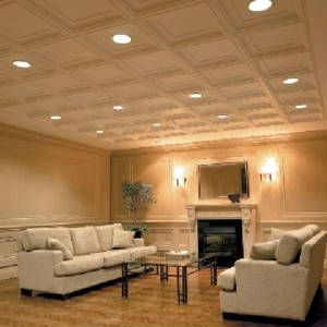 coffered drop ceiling tiles for basement from dungeon to dream rh pinterest com Installing Drop Ceilings in Basements Basement Drop Ceiling Types
