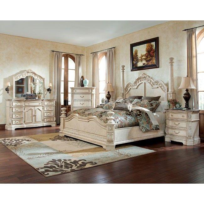 Ortanique Poster Bedroom Set White Bedroom Set Antique White Bedroom Furniture Bedroom Sets Ashley furniture gold bedroom set