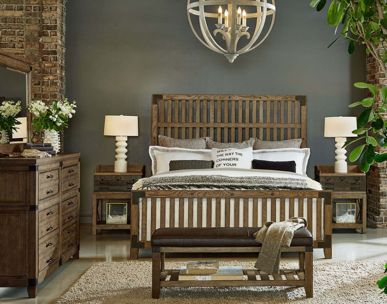 Legacy Classic 4-Piece Metalworks Wood Gate Bedroom Set in Factory ...