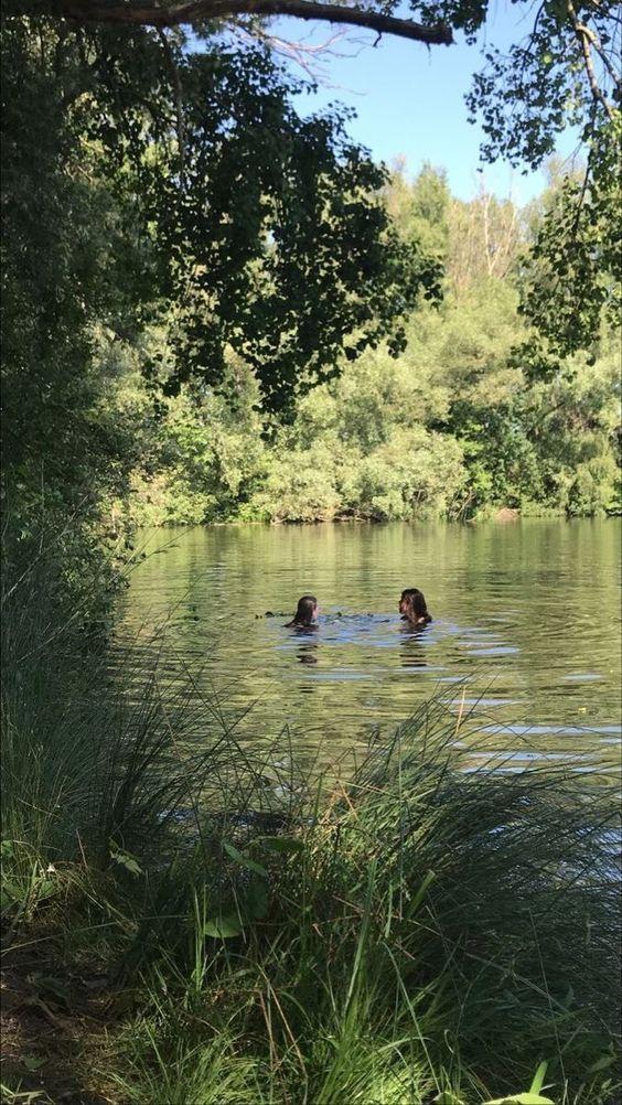 Swim date in the lake