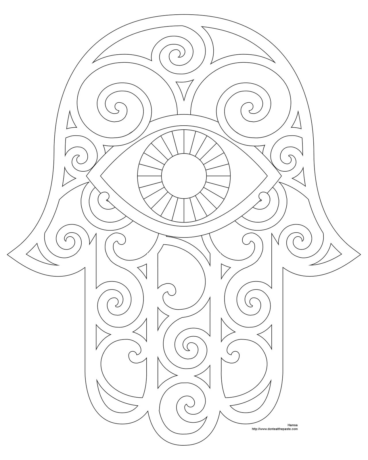 Hamsa Coloring Page and Embroidery Patterns | Mandalas | Pinterest ...