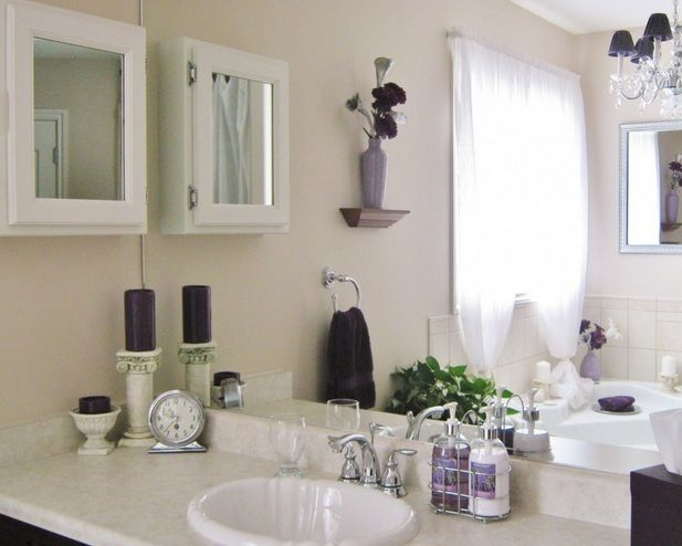 White And Purple Bathroom Vanity Accessories Sets | Decolover.net