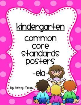 Kindergarten Common Core ELA Posters | by Kindergarten Kristy | $6.00