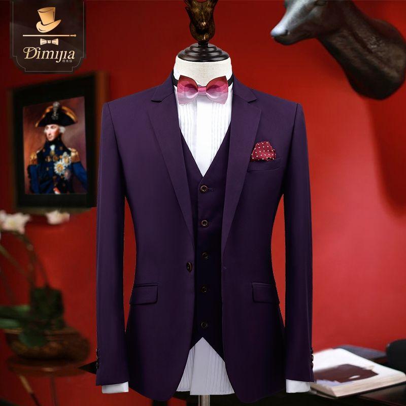 2017 Men Suit Spring New Arrivals Purple Black Slim Fit Suits Wedding Groom  3XL Plus Size Jacket Blazer + Vest + Pant 3pcs Set 746d8ebc7405