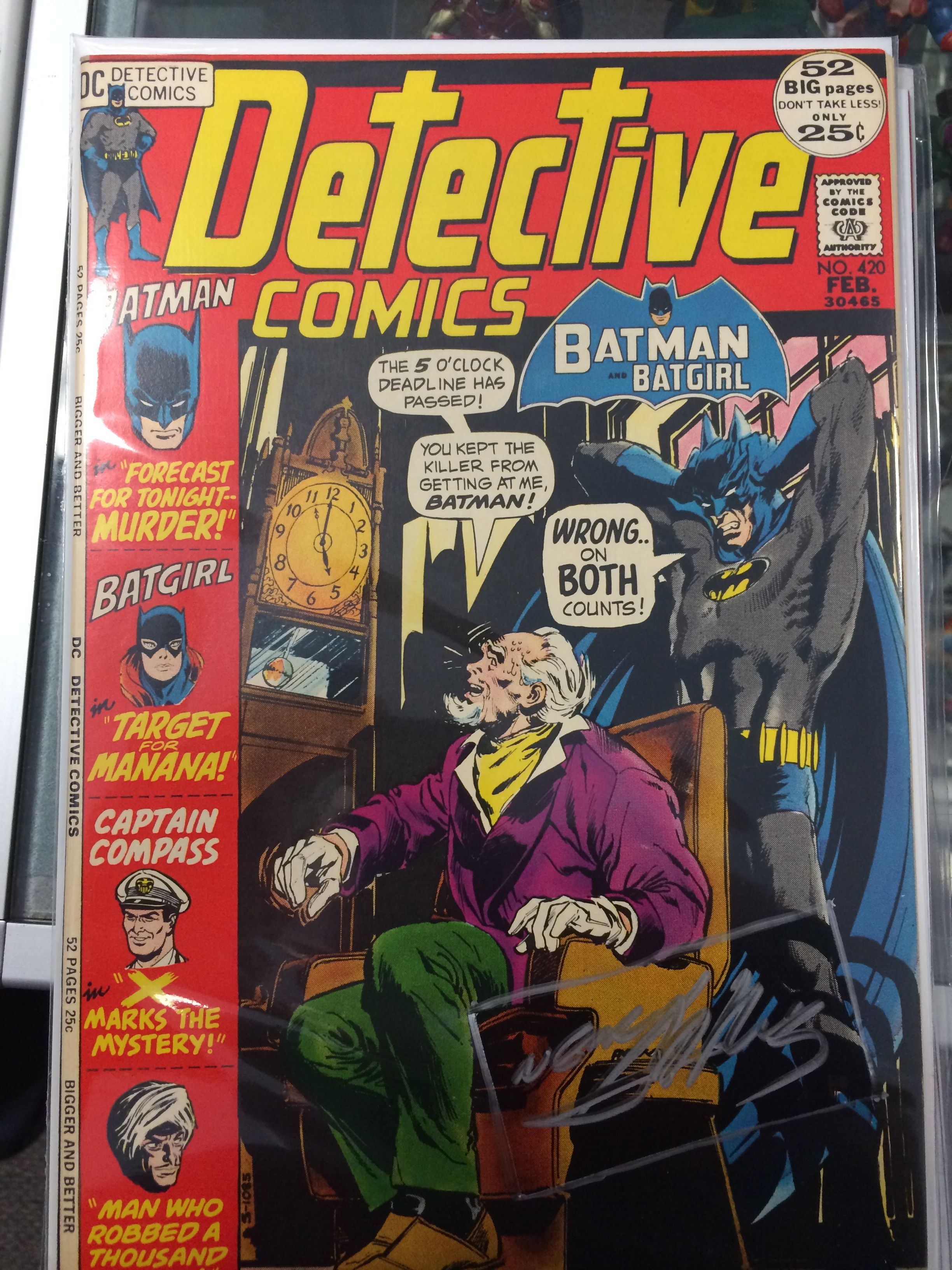 Detective Comics 420 signed by artist Neal Adams. Highest graded Signature Series copy at 9.4.