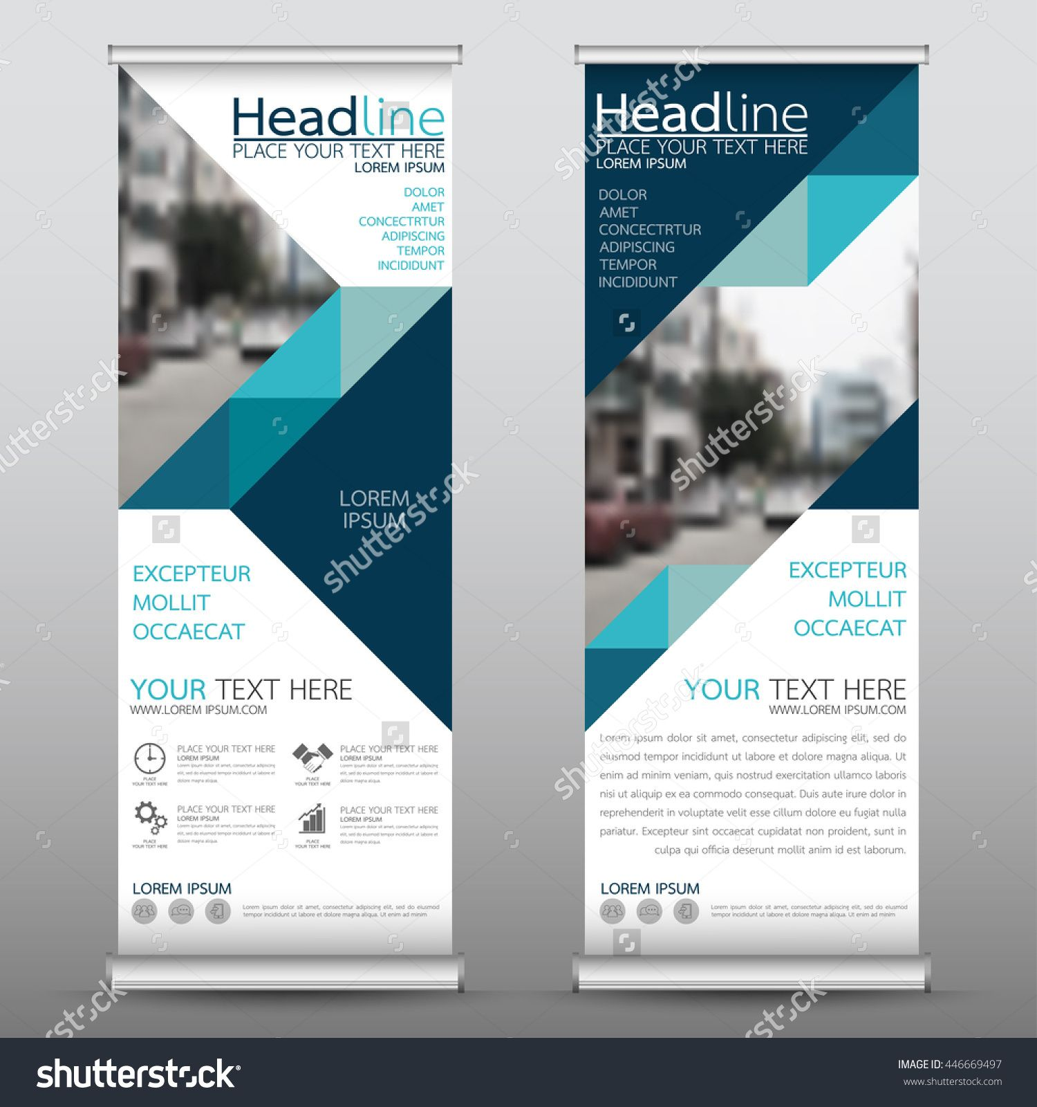 Blue Roll Up Business Brochure Flyer Banner Design Vertical