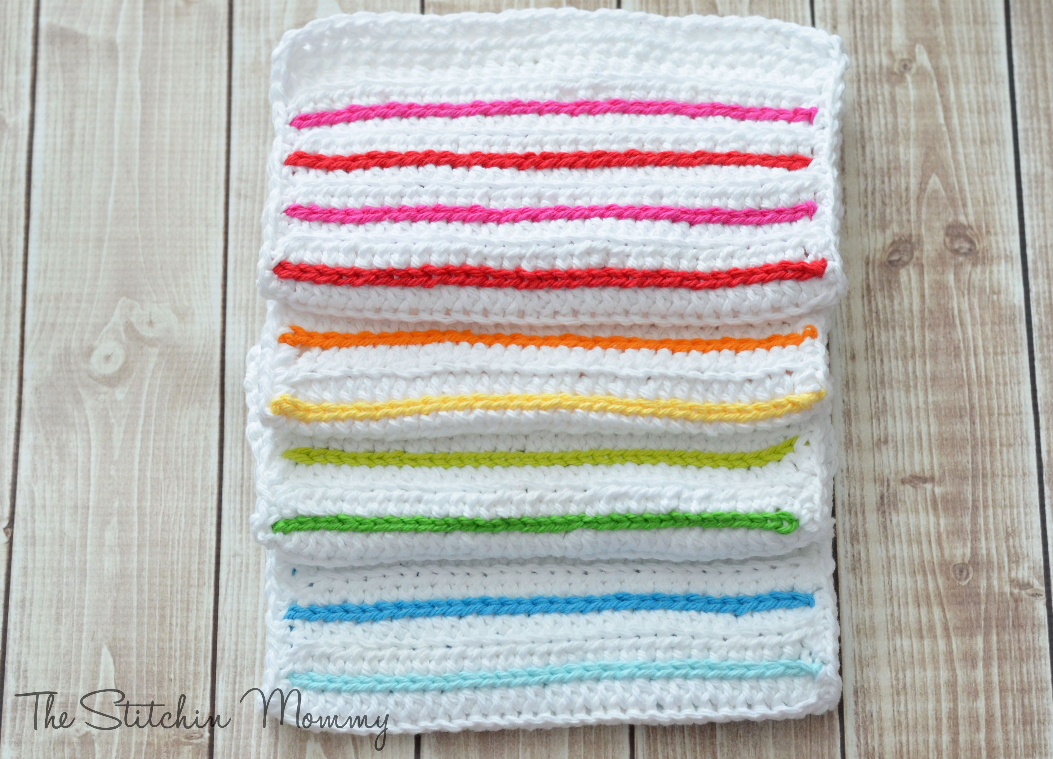 Crochet Striped Dishcloths Crochet Knitting Ideas Pinterest
