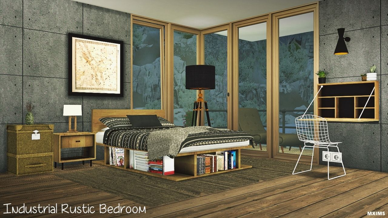 Mxims Industrial Rustic Bedroom Update 04 19 Set Contain Bed Merged With Headboard