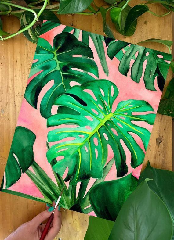 Monstera Deliciosa Art Print - Tropical - Plant Mama - Gardener - Tropics - Gallery Wall - Burnt Orange - Painting - Peach - Watercolor -   18 tropical plants Watercolor ideas