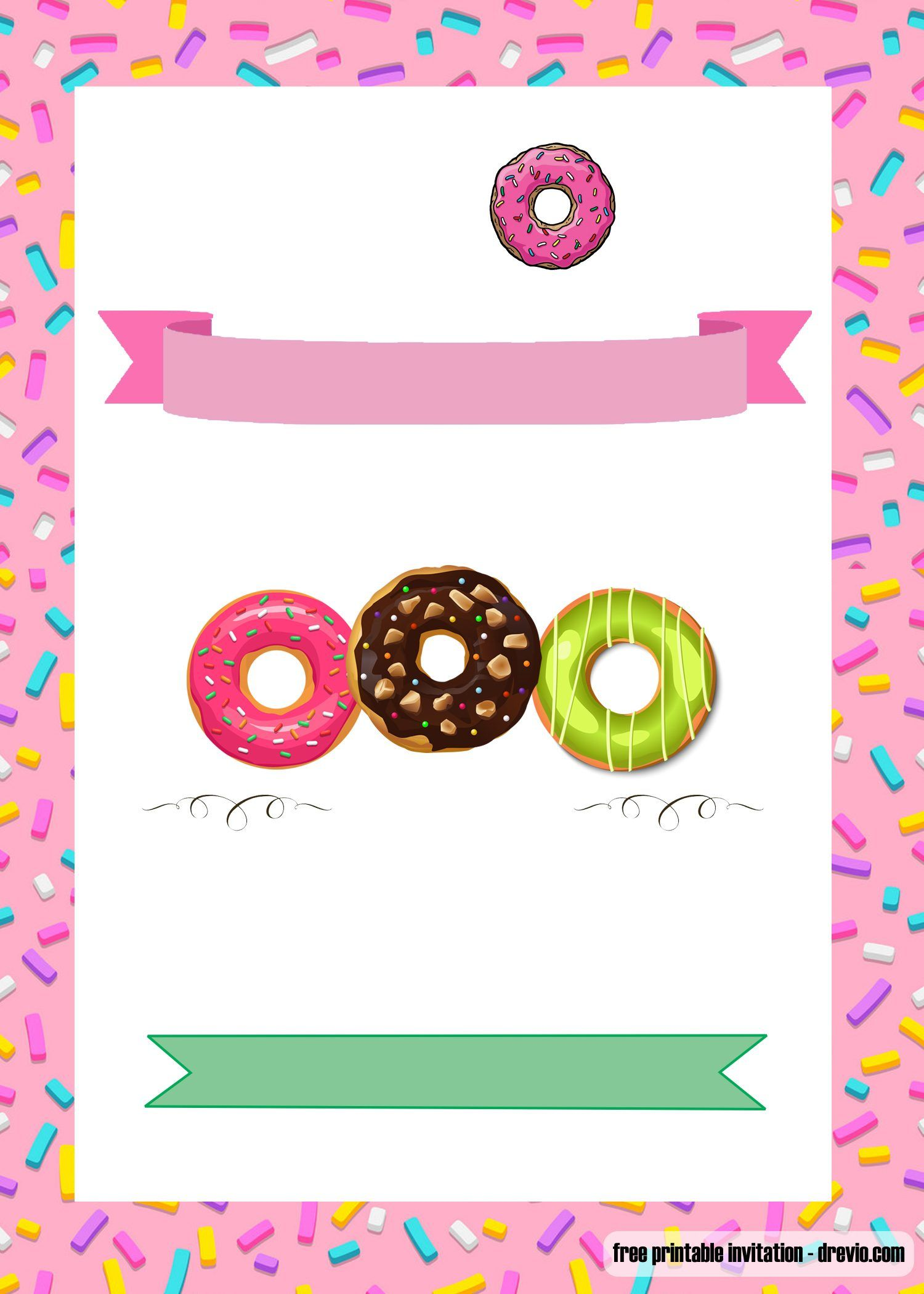 Donut Party Invitation Template Free 3