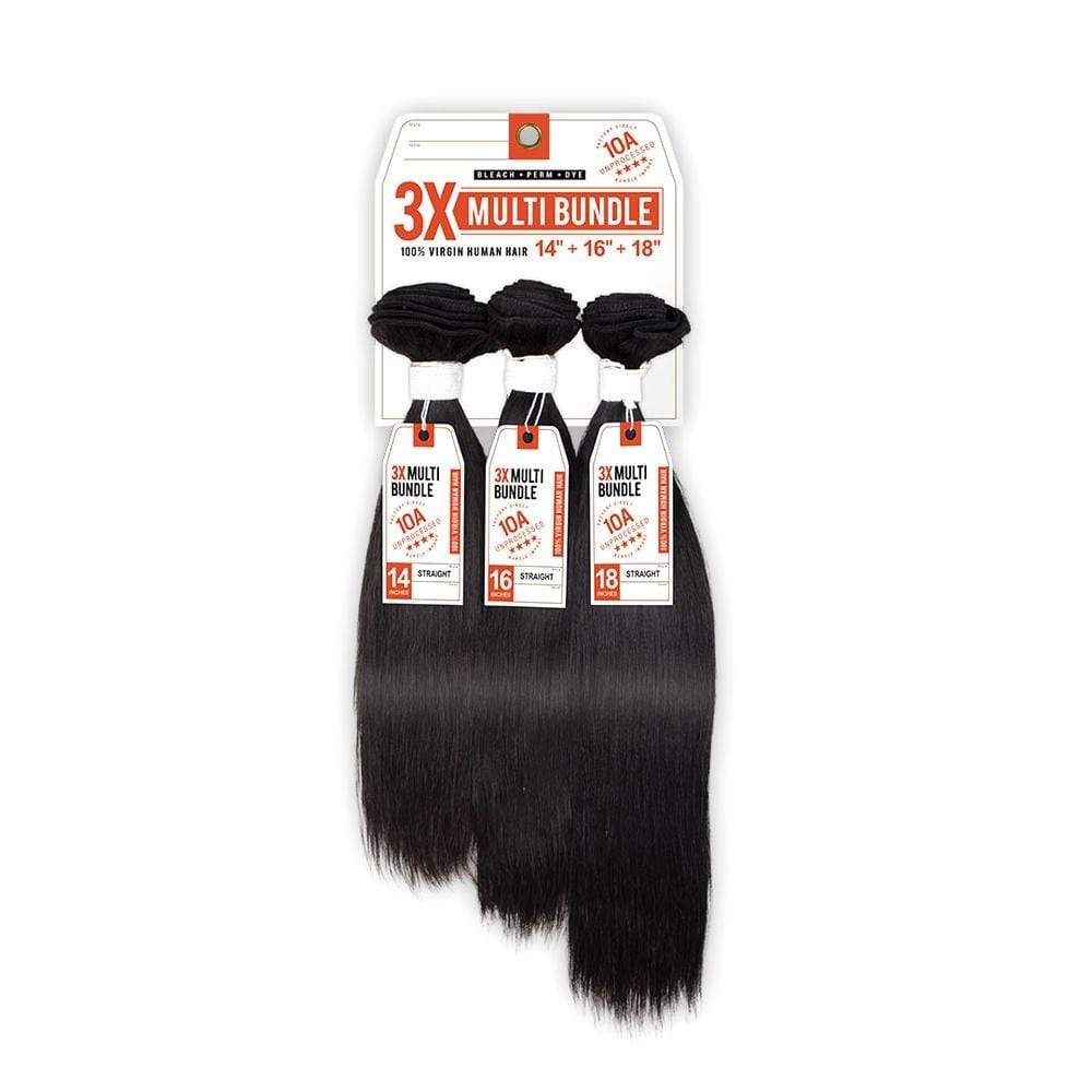 STRAIGHT 10A 3X MULTI BUNDLE | Sensationnel Bare & Natural Unprocessed 100% Virgin Human Hair Weave Type: Unprocessed Virgin Human Hair Weave Overview: 18/20/22 Inch 100% Virgin Human Hair 3x Multi Bundle Dye, Perm, & Bleach Factory Direct 10A Unprocessed Human Hair