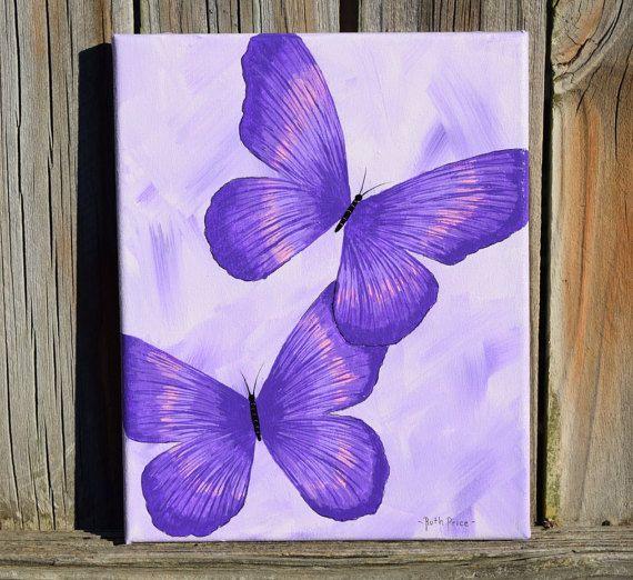 Unique Purple Butterflies Handpainted On 8x10 Canvas Sanat