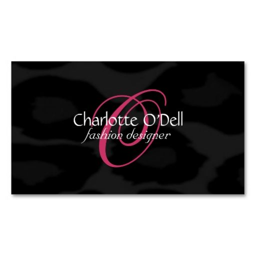 Leopard print monogram business card black and white business card leopard print monogram business cards make your own business card with this great design all you need is to add your info to this template reheart Gallery