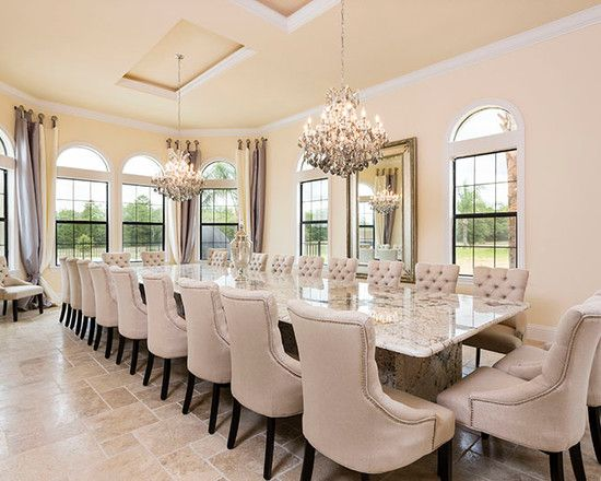 Luxurious House With Pool Designs  Luxury Dining Room Long Marble Prepossessing Luxurious Dining Room Design Ideas