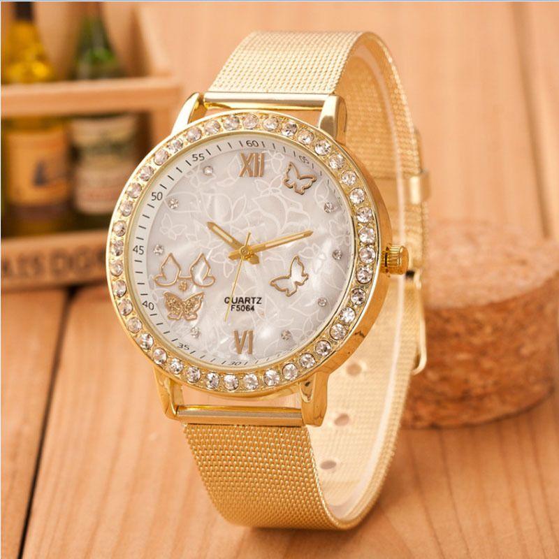 Reloj Pulsera Acero Inoxidable Mariposa Cristal Dorado Femenino Lujo Para Mujer Reloj Ideas Of Brand Watches Women Bracelet Watches Women Butterfly Watch