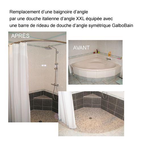 Remplacer une grande baignoire d 39 angle par une douche - Remplacer une baignoire par une douche ...