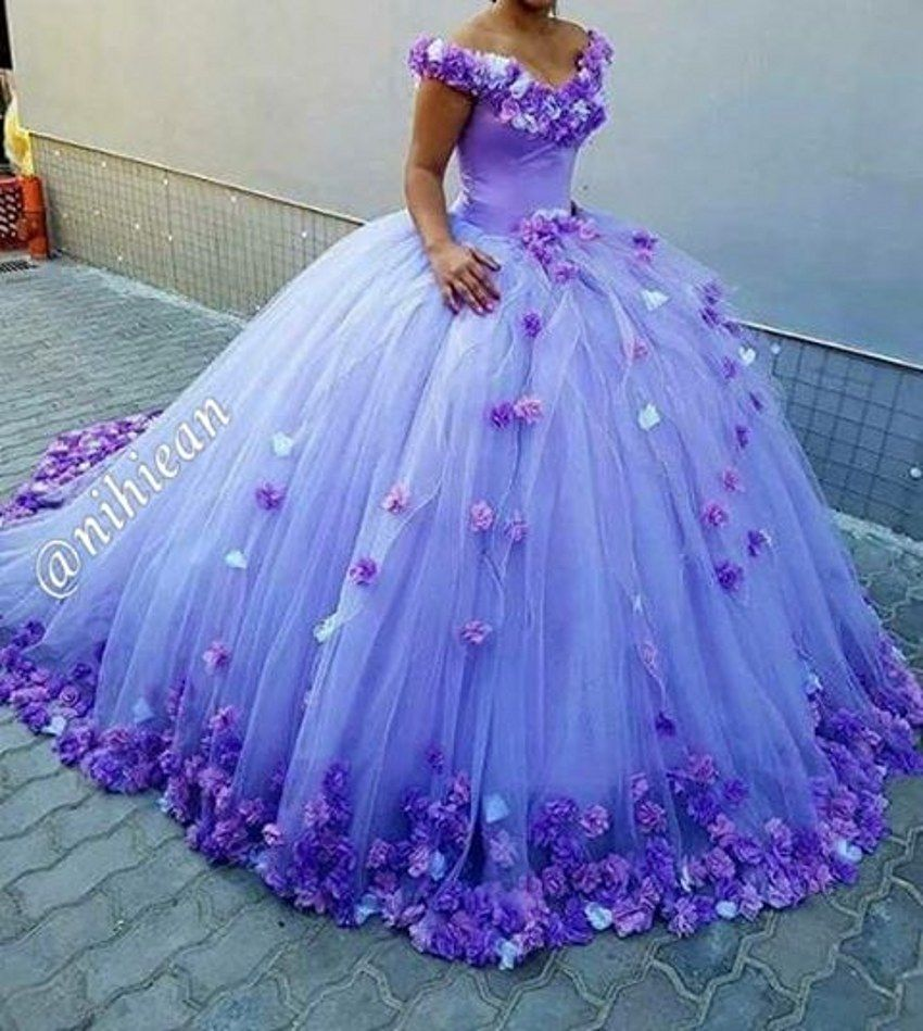 Princess Light Purple Wedding Dresses 2017 Hand Made Flowers Lace Up Back Vestido De Noiva Y V Neck Ball Gown Gowns In From