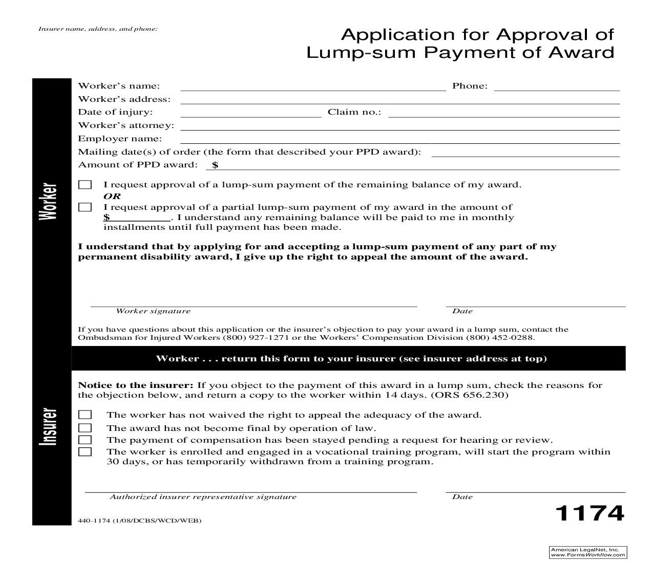 This Is A Oregon Form That Can Be Used For Closure Within Workers Comp Sum Application Payment