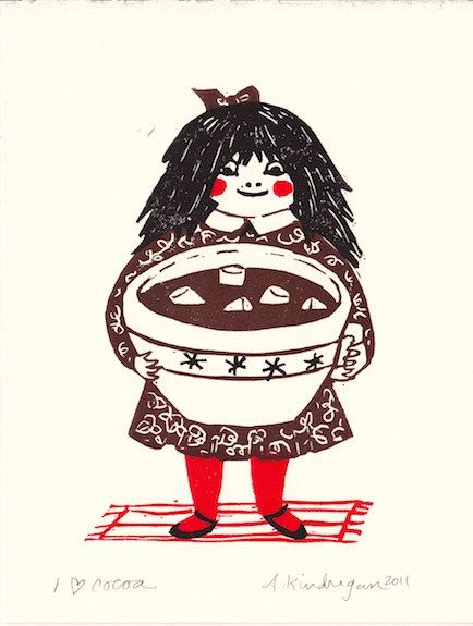 I HEART COCOA  original block print by amandakindregan on Etsy