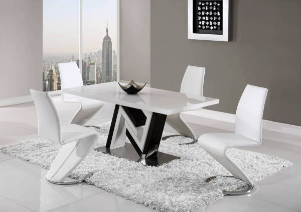 D4163 Series Black White High Gloss Dining Set Global Furniture