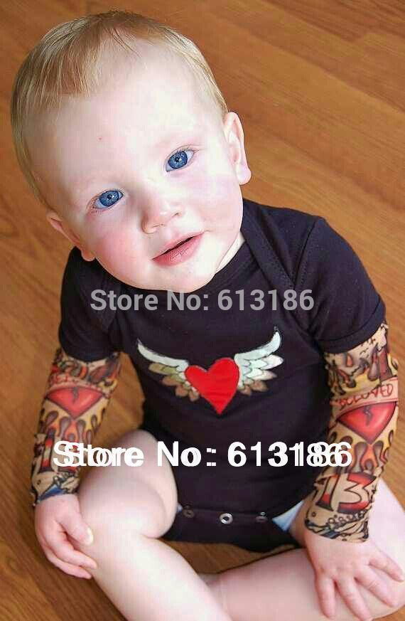 Biker Tats Grey One Piece Romper Baby Tattoo Sleeves Punk Cool Cute Fun Gift