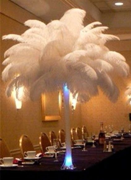 White Ostrich Feathers In An Eiffel Tower Vase With Blue Lights My