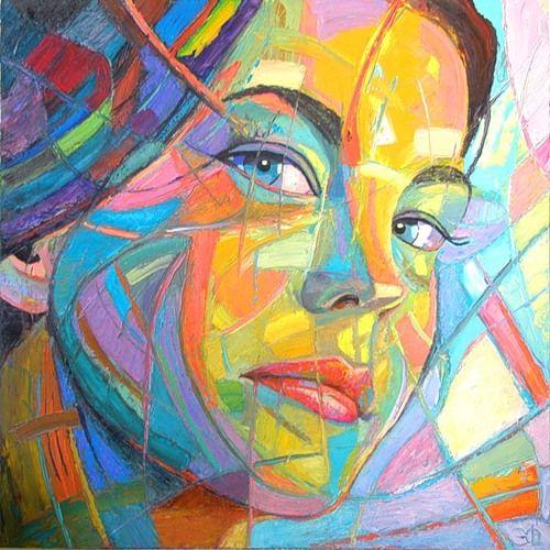 Artist: Marnie Johnson {abstract female head woman face portrait ...