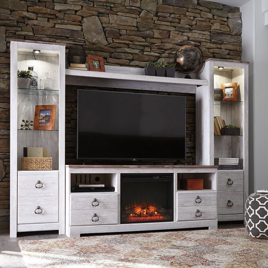 Warm Up Your Living Room And Turn Up The Ambiance With The Willowton Tv Stand With Fireplace Entertainment Center Home Entertainment Centers Fireplace Tv Stand