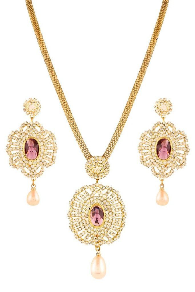 Purple Gold Plated Necklace Set