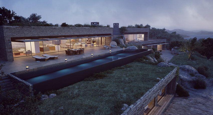 Corsican Mountain View Villas Visualized Stone Facade Pool