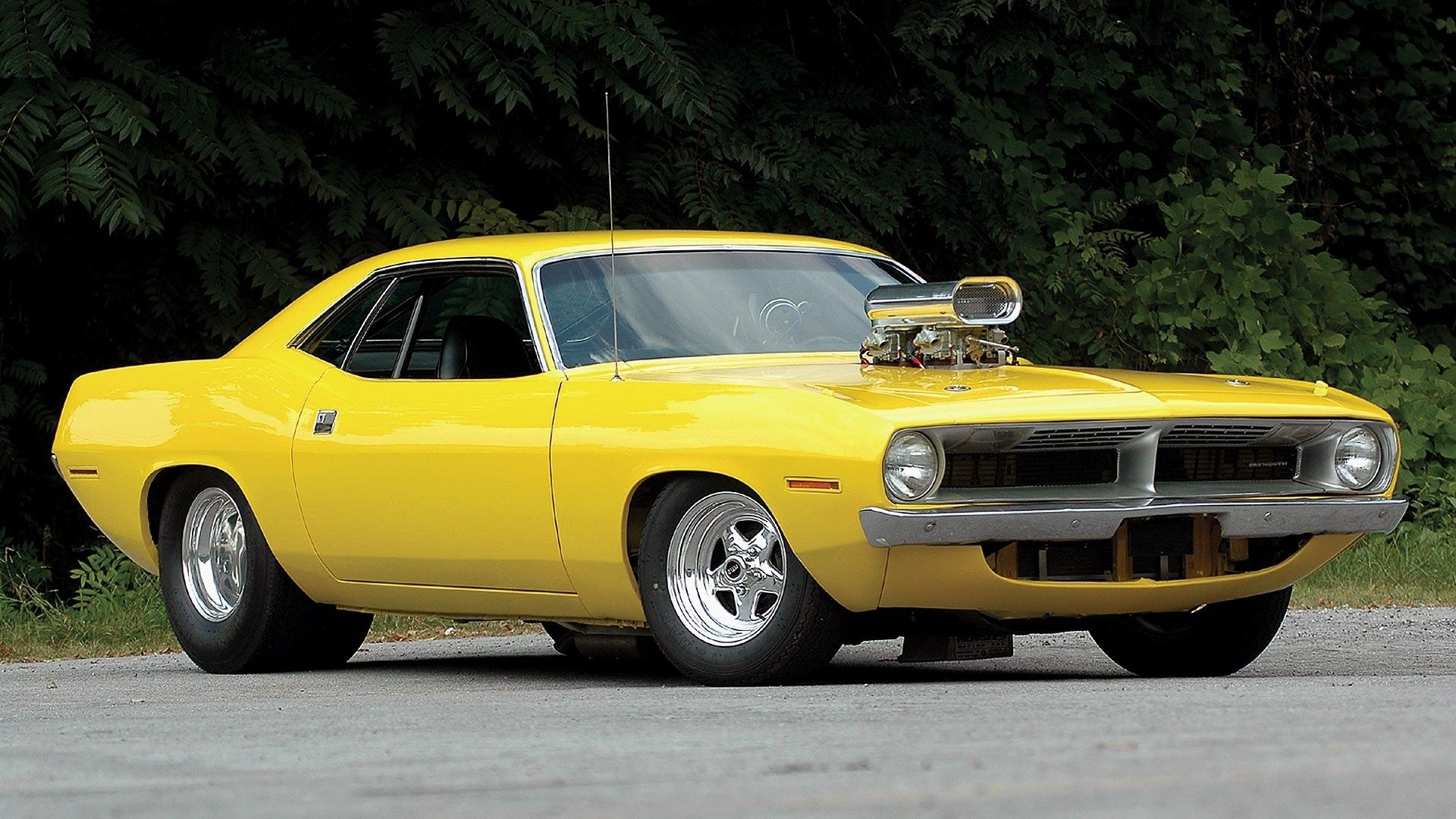Yellow Muscle Car Plymouth Barracuda Hot Rod Tuning Yellow