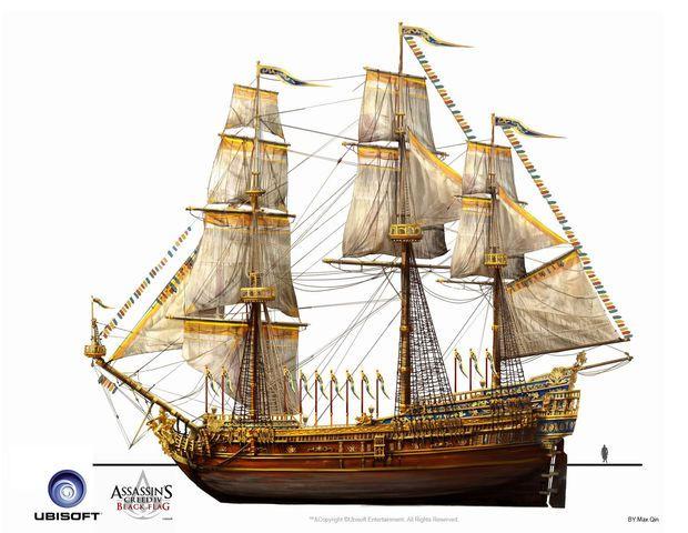 Assassin S Creed Iv Black Flag Ship Royal Convoy Treasure Ship By Max Qin Jpg Assassins Creed Black Flag Sailing Ships Ship Paintings