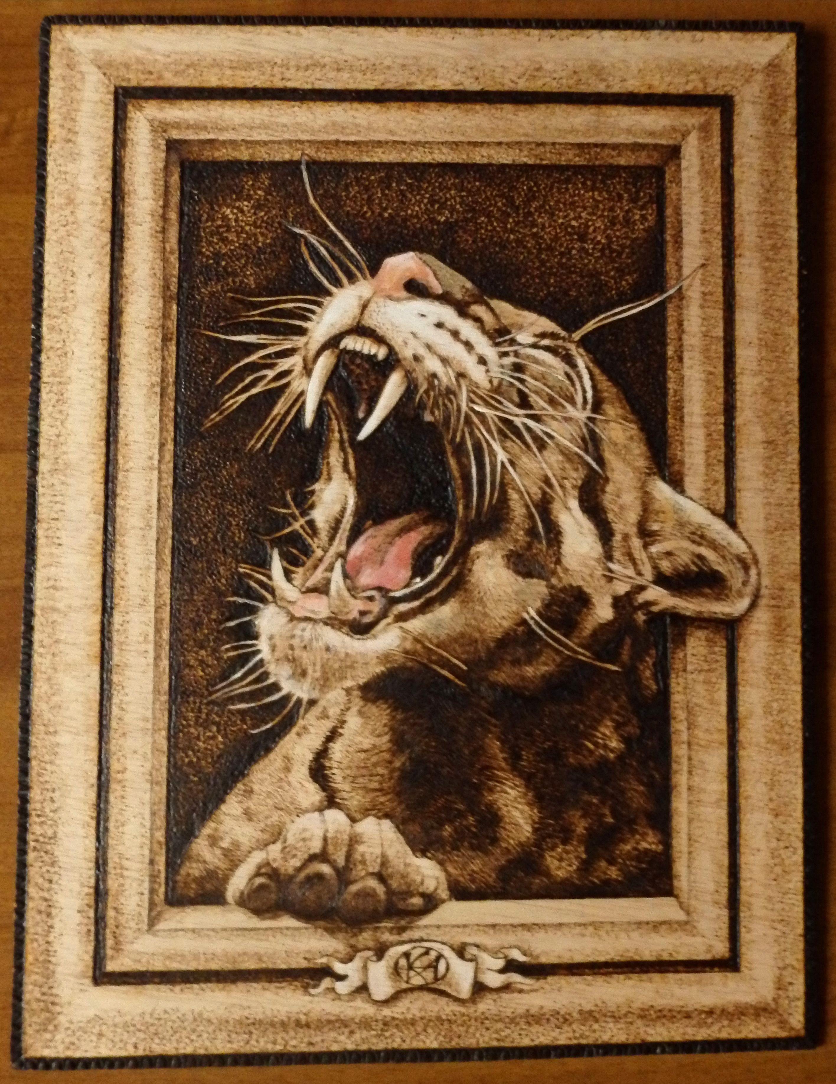 Felino Nel Quadro Pirografia Brandmalerei Malerei Holzarbeiten